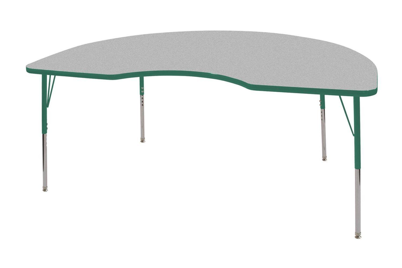 ECR4Kids 48'' x 72'' Kidney Activity School Table, Standard Legs w/Swivel Glides, Adjustable Height 19-30 inch (Grey/Green)