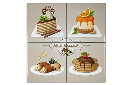 Piastrella retro dolci e pasticceria ceramica stampato 15x15 cm
