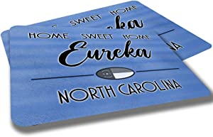Eureka North Carolina Home Sweet Home Towns Cities Provinces Door Mat Blue Souvenir Gift Design Rubber Grip Non Skid Backing Rug Indoor Entryway Door Rugs Mats Pack of 2
