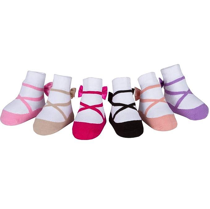 Baby Emporio 6 pares de calcetines para bebé niña - Suelas antideslizantes - Algodón suave - Con bolsita regalo - Efecto zapatillas