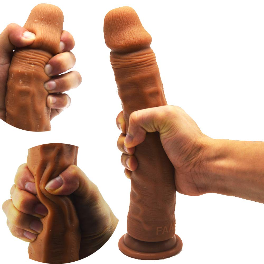 Big Double Layer Realistic Dildo, FAAK Slightly Bendable 9.5 Inch Soft G-Spot Premium Liquid Silicone Dual Density Huge Penis Dong with Suction Cup, Sex Toy for Female Masturbation