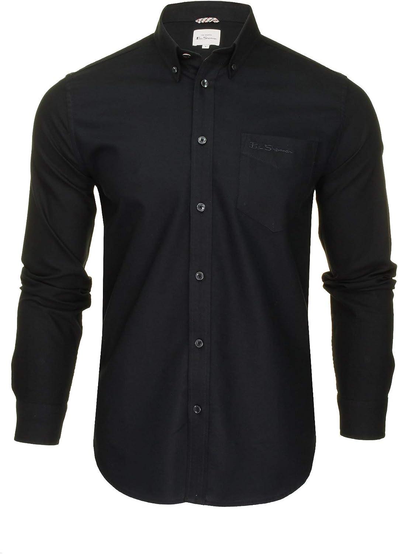 Homme Ben Sherman Manches Longues Col Boutonné Oxford Shirt 48578-Blanc