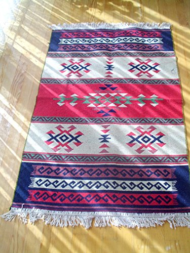 Turkish Handmade Wool Red Area Kilim Rug, Vintage Kilim Rug, Wool Floor Kilim Rug,