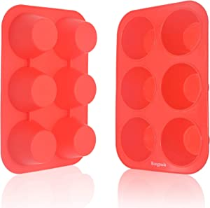 Bongpuda Silicone Muffin Pans,Nonstick Cupcake Baking Pan,Texas Size 6 cups Muffin Pan,Food Grade Silicone Baking Mold for Large Muffins and Mini Cakes,Each Cup Holds 5 oz,2 Pack