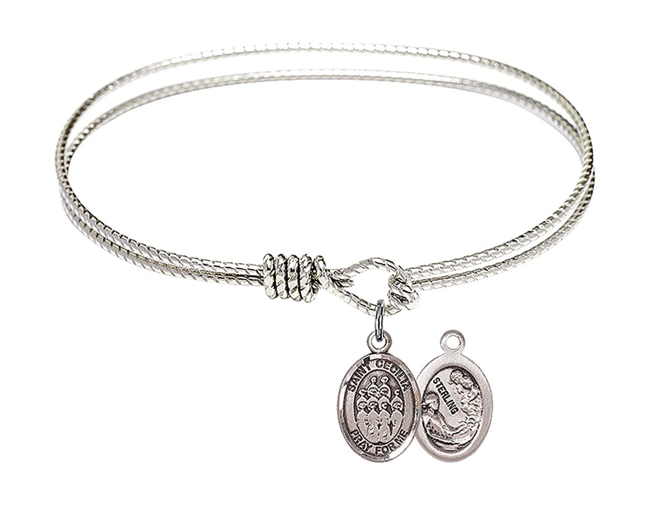 F A Dumont 6 1//4 inch Oval Eye Hook Bangle Bracelet a St Cecilia//Choir Charm.