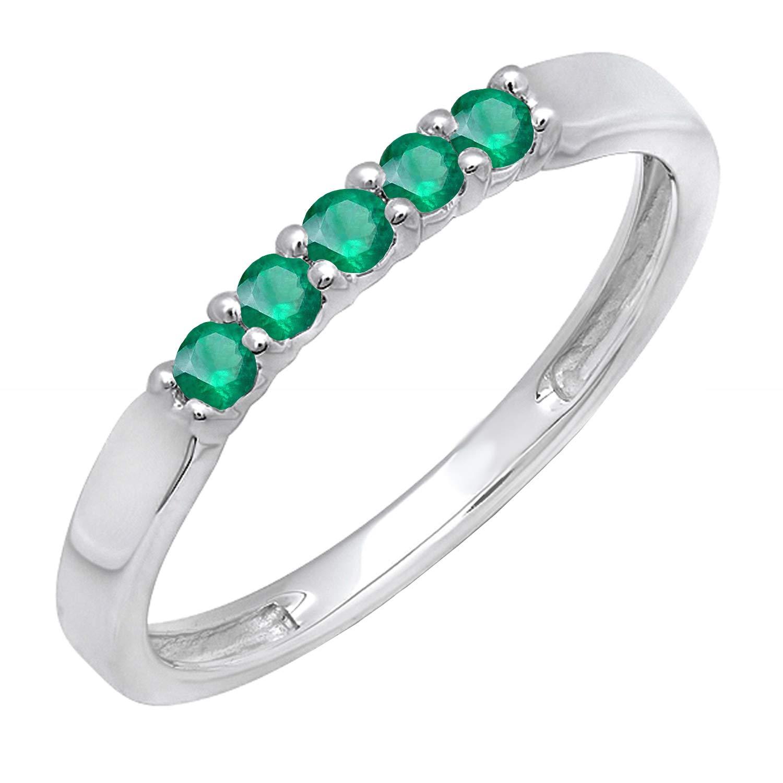 Dazzlingrock Collection 10K Round Emerald 5 Stone Ladies Anniversary Wedding Band Ring, White Gold, Size 7