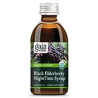 Gaia Herbs, Black Elderberry NightTime Syrup, Immune Support for Restful Sleep, Organic Sambucus Elderberry Supplement, 5.4 Ounce