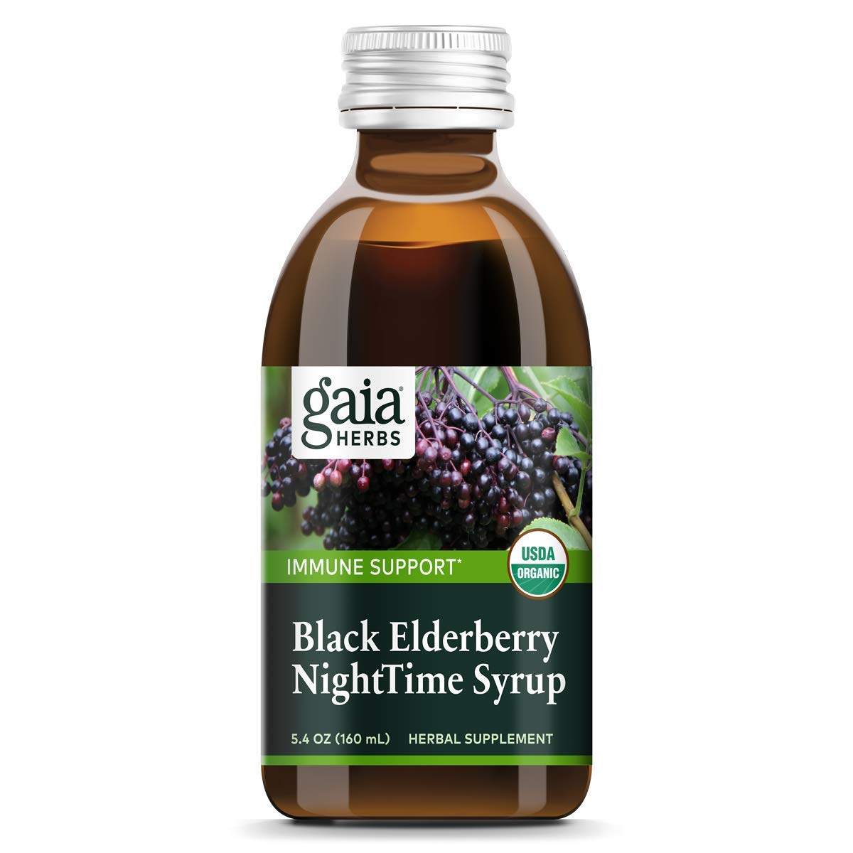 Gaia Herbs Black Elderberry NightTime Syrup, 5.4 Ounce - Immune Support for Restful Sleep, Organic Sambucus Elderberry Supplement