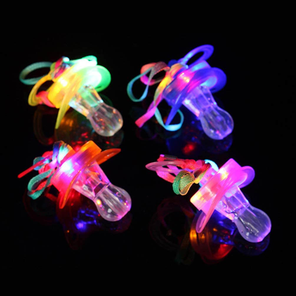 10 x LED Multicolour Light-Up Necklace Whistle Pacifier Party Birthday