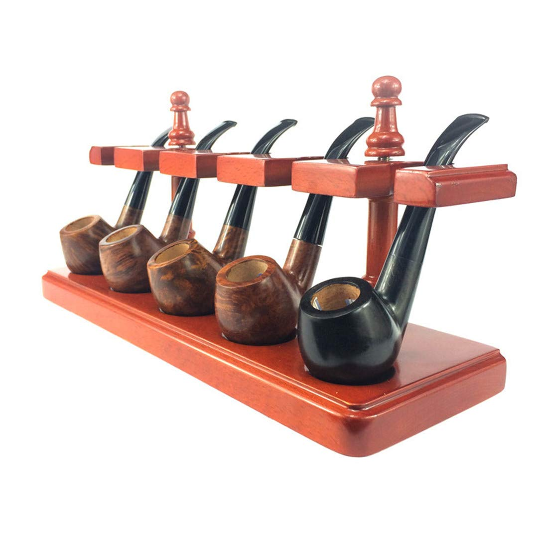 Wooden Tobacco Pipe Stand Rack Display Holder for 5 Smoking Pipes by Liang
