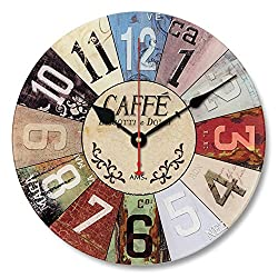 Enjoy House Wooden Decorative Colorful Wall Clock Country Style Silent Non-Ticking (#21)