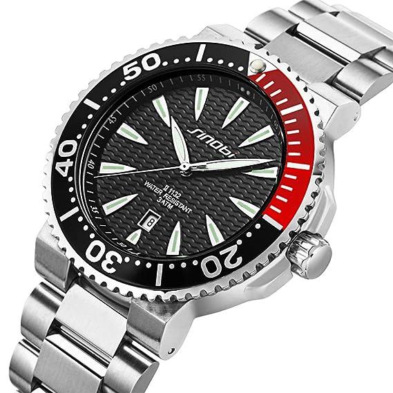 Reloj SINOBI, para hombres, con caja de acero inoxidable y correa de plata, resistente al agua, con calendario, color negro: Amazon.es: Relojes