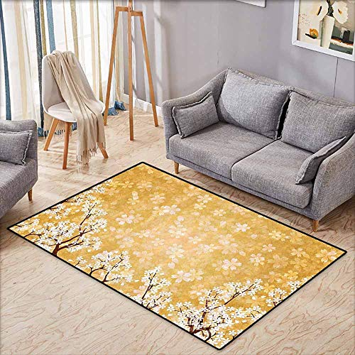 Door Rug Indoors Floral Decor Trees Blossoms Buds Flowers of Spring Season Pedals Bodies in Wind Image Yellow and White Hard and wear Resistant W5'2 xL3'2