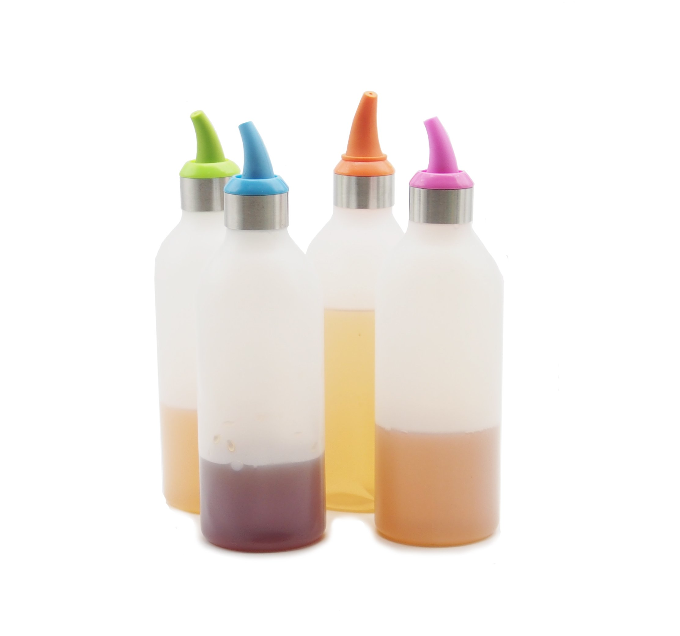 16oz Plastic Squirt Bottles with Cap for Sauce (2, Pink)