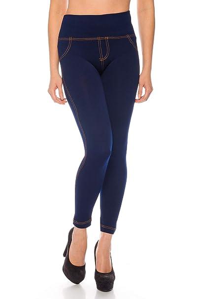 Kendindza Mujer Leggings térmicos para Jeans-Look forrado con interior de polar básico opaco