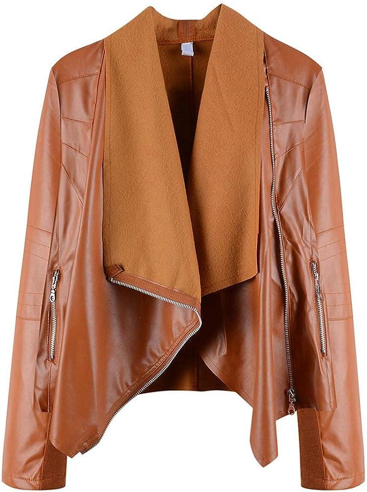 ETOSELL Womens Casual Lapel Faux Leather Jackets Oblique Zipper Biker Motorcycle PU Punk Coat