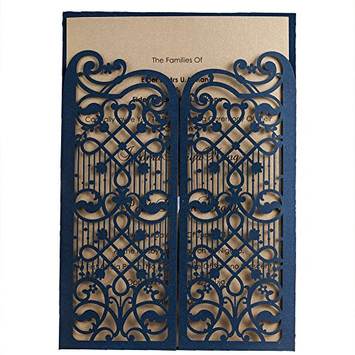Wishmade 100X Navy Blue Elegant Laser Cut Gate Fold Design Wedding Engagement Invitation Kits Cards Stock for Bridal Shower Graduation Party Quinceanera Dinner Party with Envelope CW5102