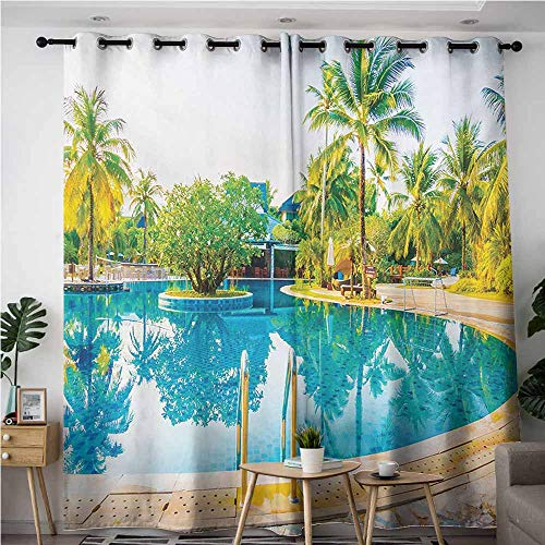 VIVIDX Doorway Curtains,Landscape Umbrella and Chair Around The Round Pool Tourist Space Famous Spots Concept,Great for Living Rooms & Bedrooms,W72x108L,Green Blue Cream