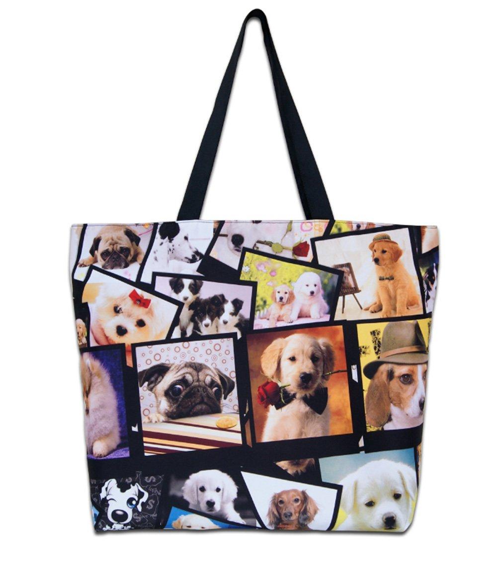 Newplenty Ladies Zippered Light Shoulder Shopping Tote Bag Handbag Beach Satchel, Many Dogs by newplenty (Image #1)