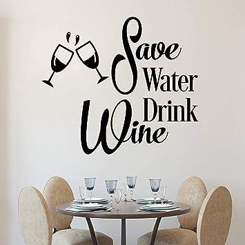 Ahorre Agua Bebida Vino Vinilos Decorativos Cocina Divertida
