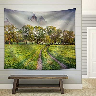 Colorful Spring Sunrise in The Foggy Mountains Fabric Wall, With Expert Quality, Amazing Technique
