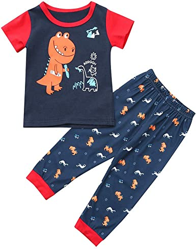 TM Little Kids Pajamas Sets,Jchen Baby Kids Girl Boy Cartoon Frog Tops Striped Pants Sleepwear Outfits for 0-4 Y
