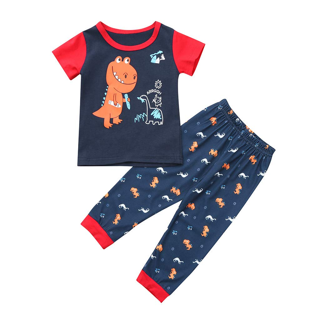 2Pcs 6M-4Y Toddler Baby Boy Girl Short Sleeve Dinosaur Print Tops T-Shirt + Cartoon Long Pants Pajamas Sleepwear Outfits Set (2-3 Years)
