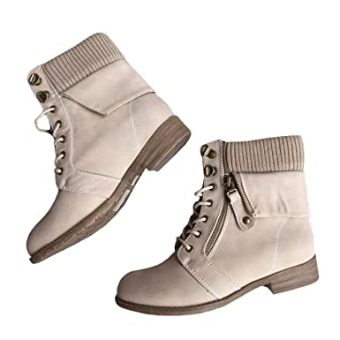 d85164db05 Womens Cozy Sweater Boots Lace up Cuff Military Chunky Low Heel Ankle  Length Booties