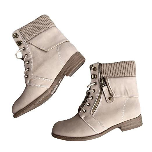 Amazoncom Womens Cozy Sweater Boots Lace Up Cuff Military Chunky