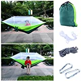 YaeTact Outdoor Hammock Nylon and Free Tree Straps Set With Mosquito Net- Double Hammock, Suitable for Camping and Travel, Camping Outdoor Bed (Green)