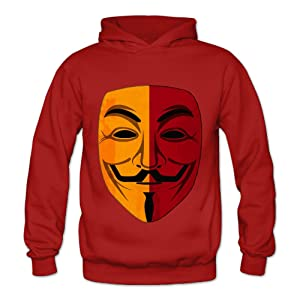Lennakay Work Adult's V For Vendetta Hooded With No Pocket Red For Woman SizeL