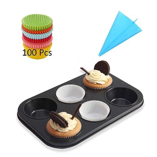 CANDeal Muffin Set, Bandeja de Horno para 6 Magdalenas, 100 Moldes ...