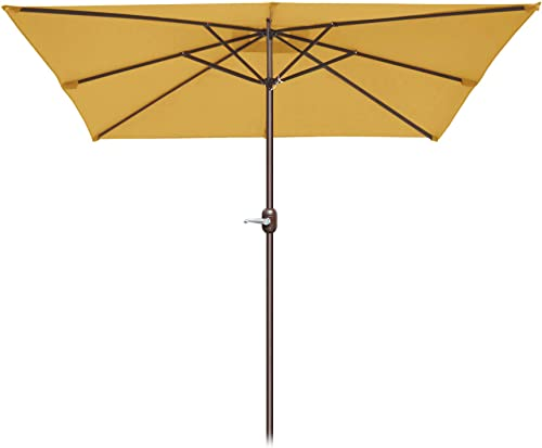 Strong Camel 8 x 8 Patio Umbrella Outdoor Sunshade Table Market Umbrella with Crank for Garden Tan