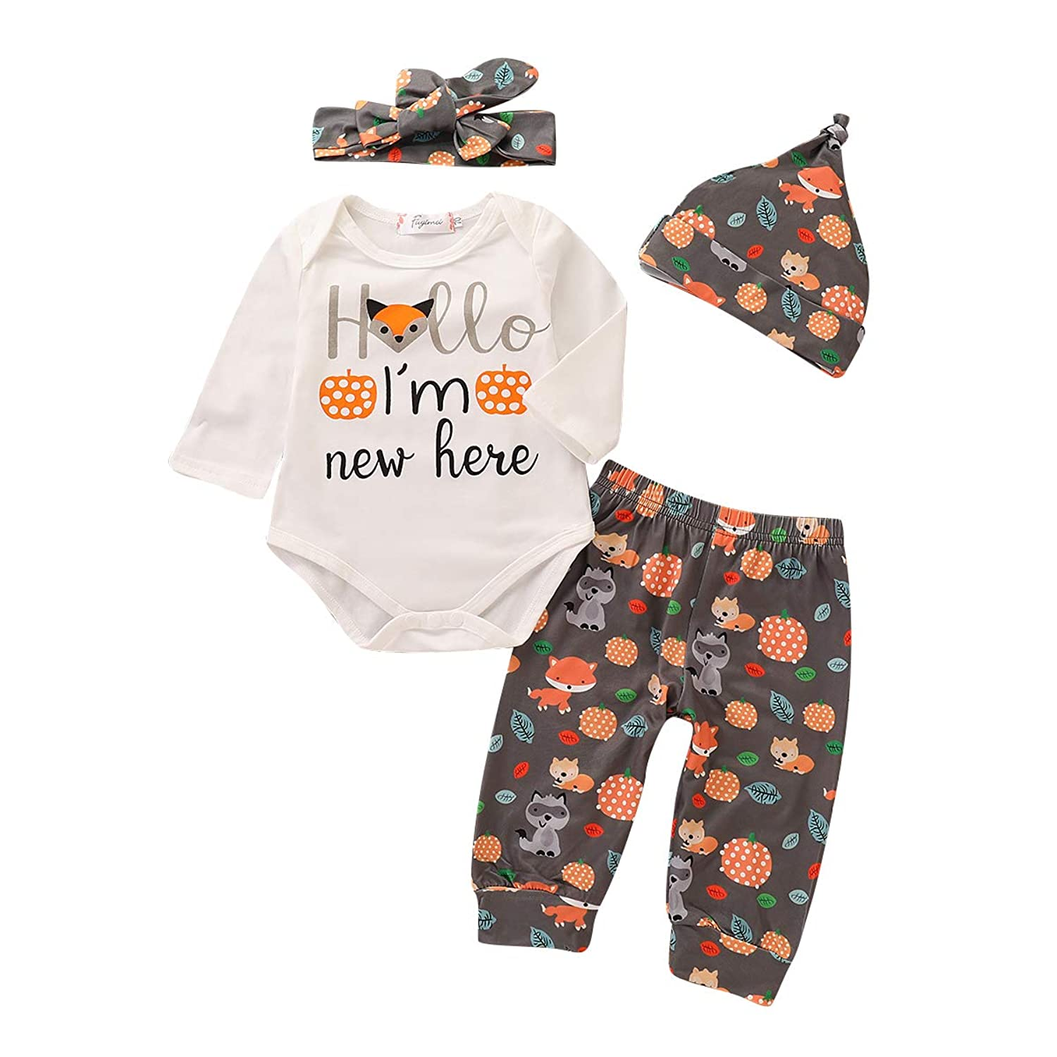 0c6cb75e3 Novelty and fashion design for your little princess,long sleeve junpsuit, pant and hat set with headband ✿ Infant toddlers baby girl ...