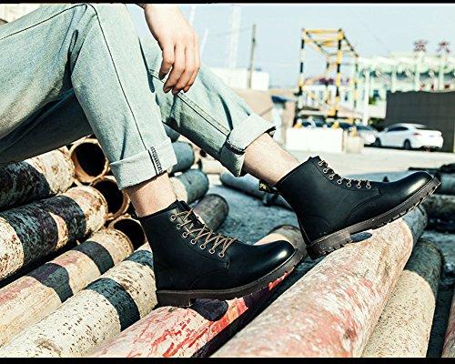 Maybest Mens Britannico Stile Gradiente Colore Corto Tubo Punta Rotonda Impermeabile Retrò Pizzo Martin Stivali Scarpe Nere