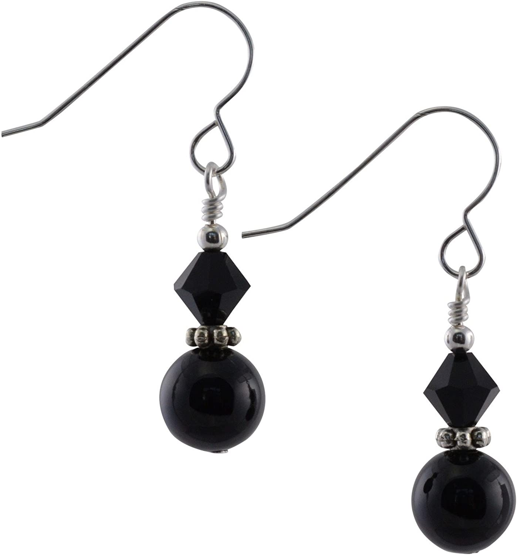 Negro Onyx Gemstone, Jet cristal Swarovski y plata de ley pendientes de gota con caja de regalo