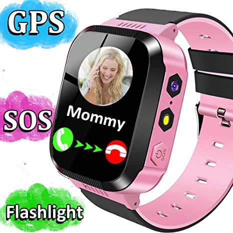 Kids Smart Phone Watch for Girls Boys GPS Tracker Smartwatch with 2 Way Call Camera Puzzle Game Alarm Clock SOS Vice Chat Flashlight 1.44