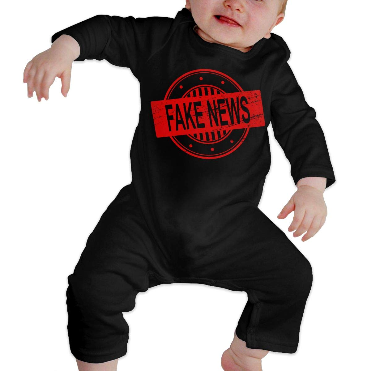 Fake News Romper Jumpsuit Long Sleeve Bodysuit Overalls Outfits Clothes for Newborn Baby Boy Girl