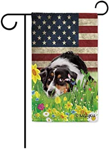 BAGEYOU Cute Puppy Australian Shepherd Garden Flag Lovely Pet Dog American US Flag Wildflowers Floral Grass Spring Summer Home Decorative Patriotic Banner for Outside 12.5x18 inch printed double sided