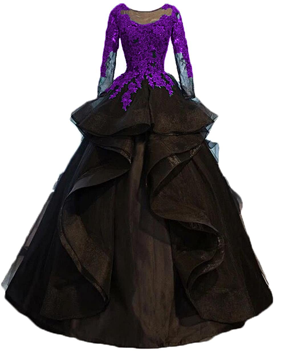 Purple Dydsz Evening Party Dresses for Women Wedding Long Sleeve Formal Dress Ball Gown D264