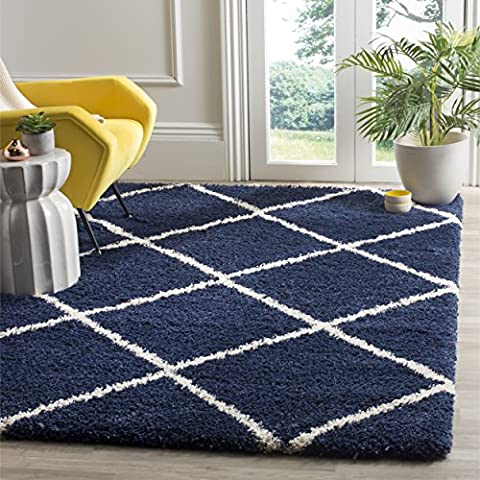 Safavieh Hudson Shag Collection SGH281C Navy and Ivory Area Rug, 3 feet by 5 feet (3' x 5') (Shag Rug Navy Blue)