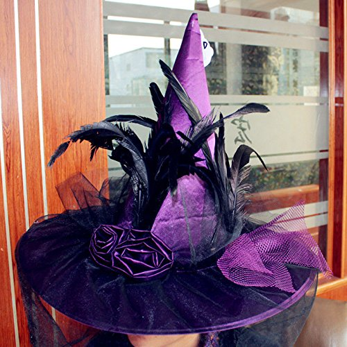 [OKOKMALL US--Women Ball Costume Party Cap Adult Accessory Gothic Halloween Wizard Witch Hat] (Cher Believe Costume)
