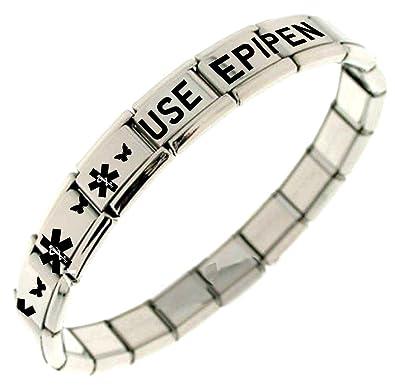 USE EPIPEN Medical Alert Bracelet - Shiny Stainless Steel qRYo1lHU6