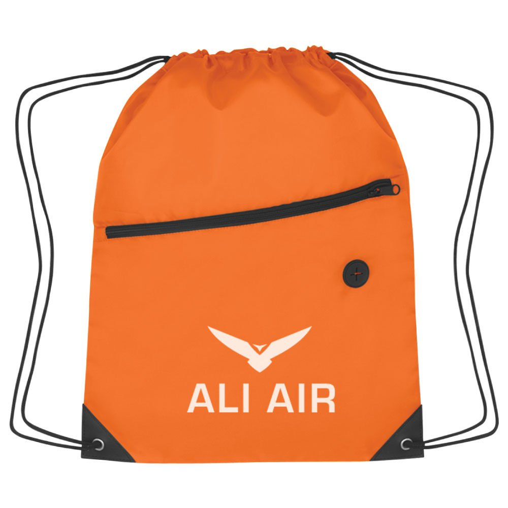 Sports Pack with Front Zip - 150 Qty - Custom Product Imprinted & Personalized Bulk with Your Customized Logo Orange