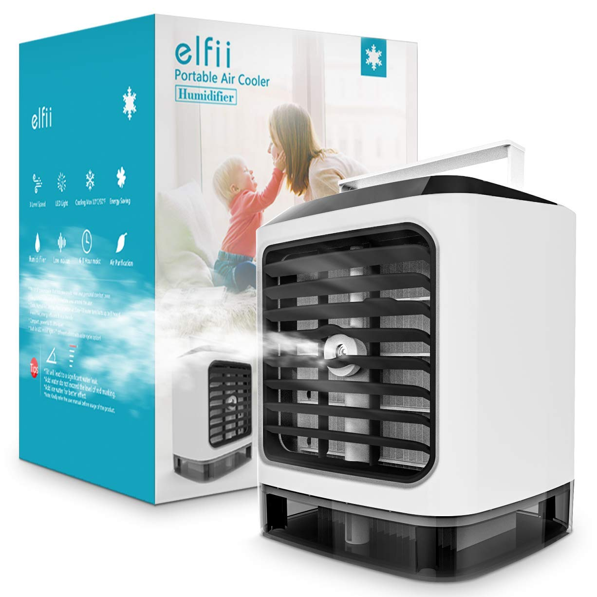 Elfii Ultra Evaporative Personal Space Air Cooler | Portable Air Conditioner,Humidifier,Moist,Low Noise,Purifies Air, LED Light, Small Desk Fan | Mini Coolair AC for Home/Office/Bedroom/Outdoor/Baby by Elfii