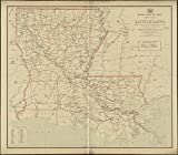 Historic Map | 1897 Post route map of the state of Louisiana showing post offices with the intermediate distances on mail routes in operation on the 1st. of December, 1897 | Vintage Reproduction