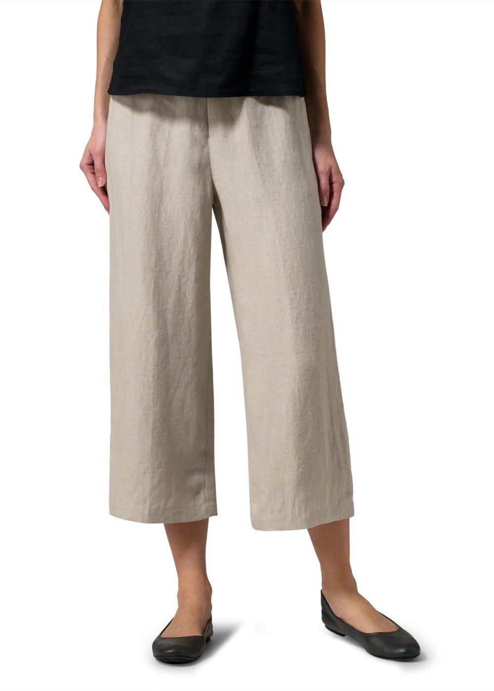 Vivid Linen Wide-Leg Cropped Pants-L-Oat