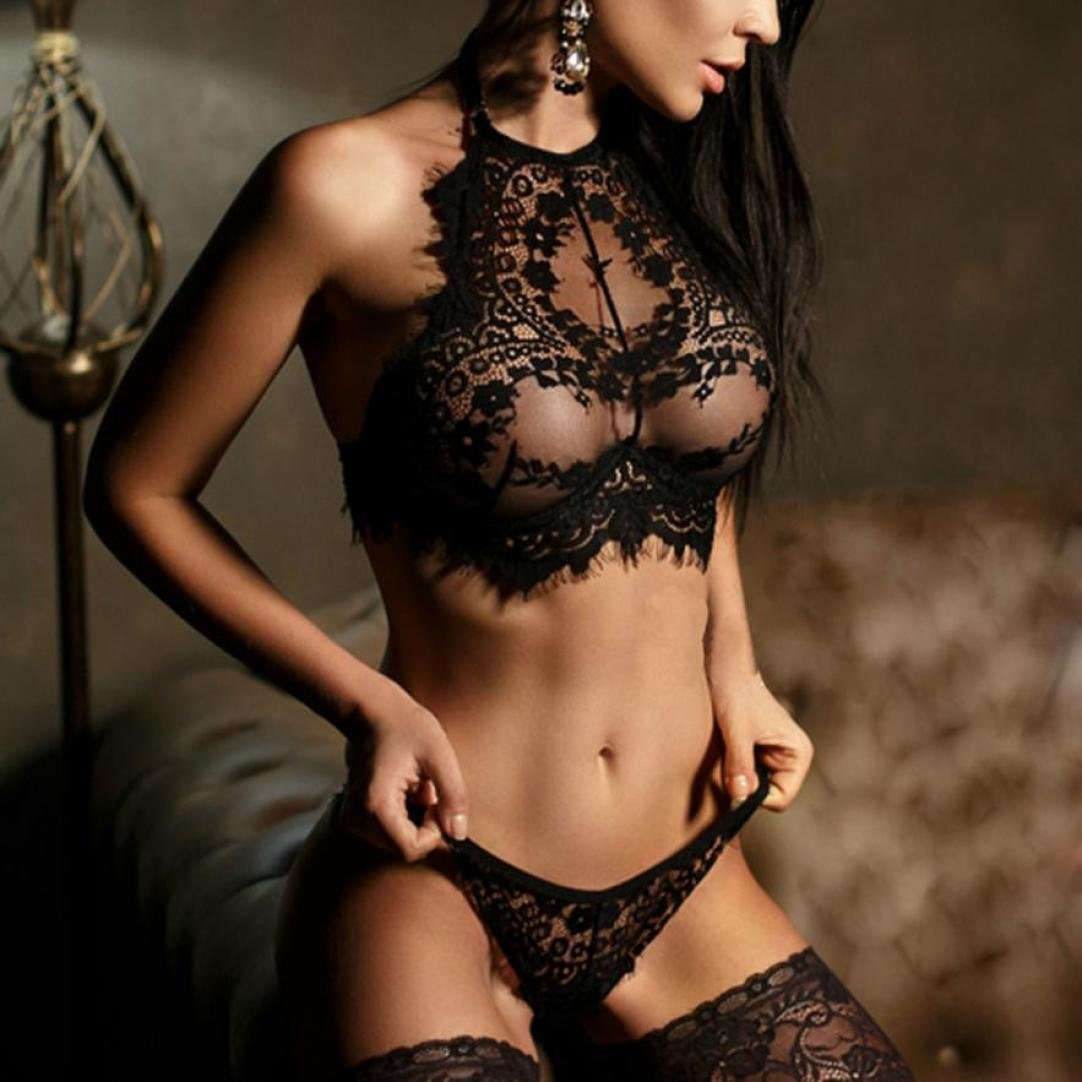 c635907b2e35d Amazon.com  Yutao Womens Sexy Lingerie Lace Flowers Push-Up Bra Top  Underwear Two Pieces Set (SMALL