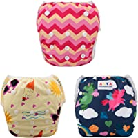 ALVABABY Swim Diapers 3pcs One Size Reuseable Washable & Adjustable for Swimming Lesson & Baby Shower Gifts 3SW18