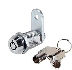 """Kingsley Tubular Cam Lock with 1-1/8"""" Cylinder-Chrome Finish, Keyed Alike (1-1/8"""")"""